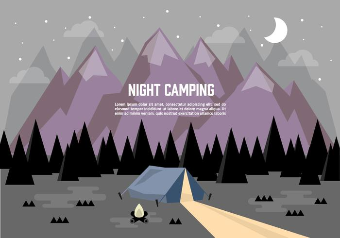 Camping Landskap Illustration Vektor Bakgrund