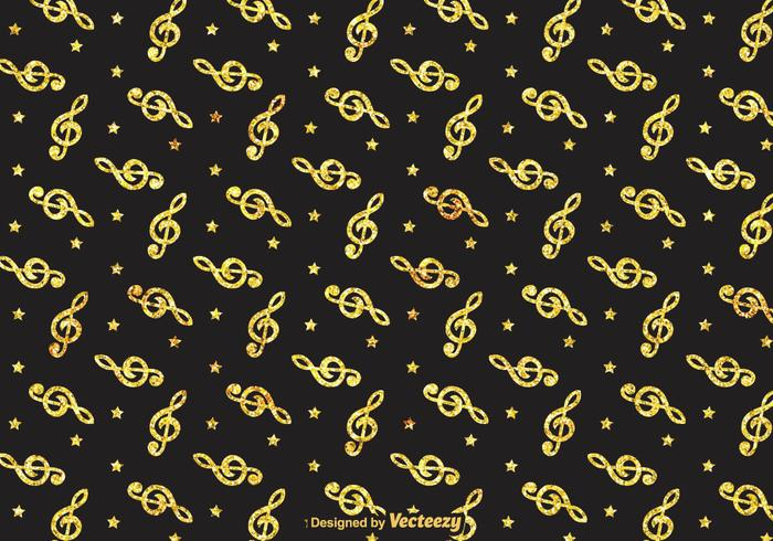 Golden Violin Key Vector Pattern