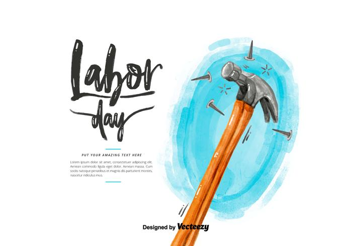 Labor Day Hammer Watercolor Vector