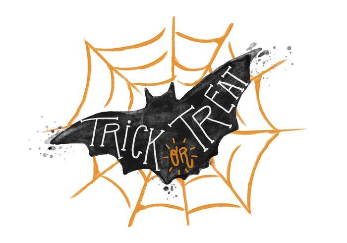 Trick or Treat Bat Watercolor Vector