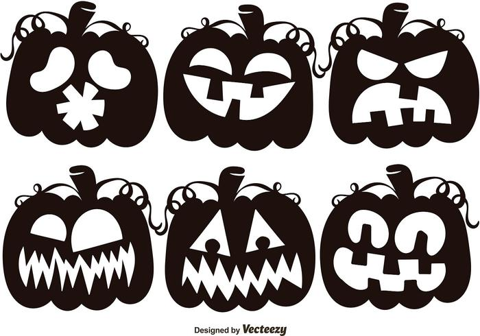 Set Of Black Jack O Lantern Silhouettes