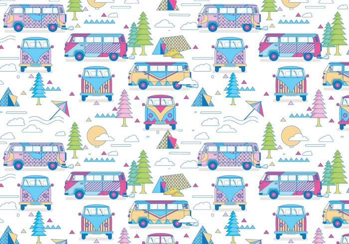 Hippie Bus Muster Vektor