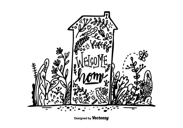 Hand Drawn Welcome Home Lettering