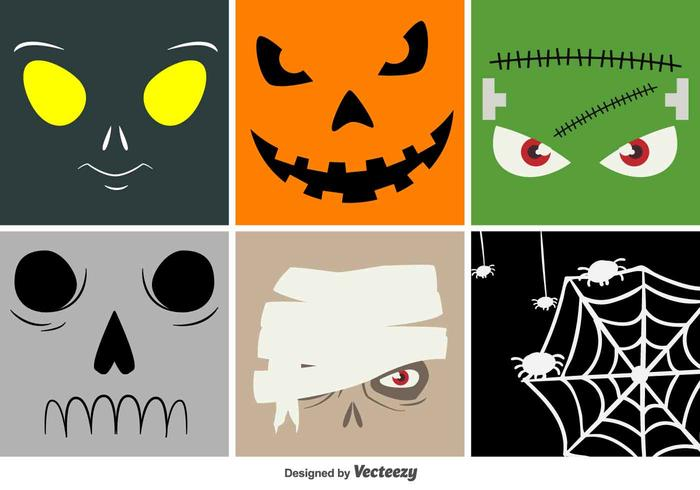Halloween Cartoon Vektor Gesichter
