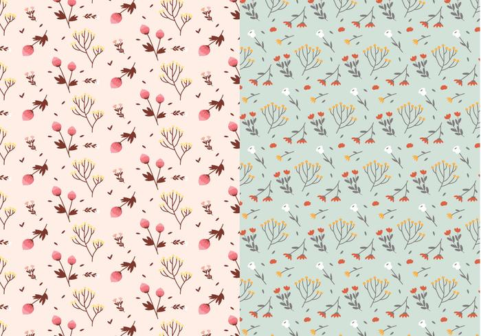 Pastel Plants Vector Pattern