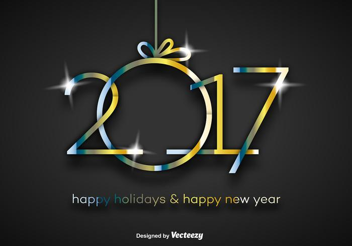 2017 Happy New Year Gold Background