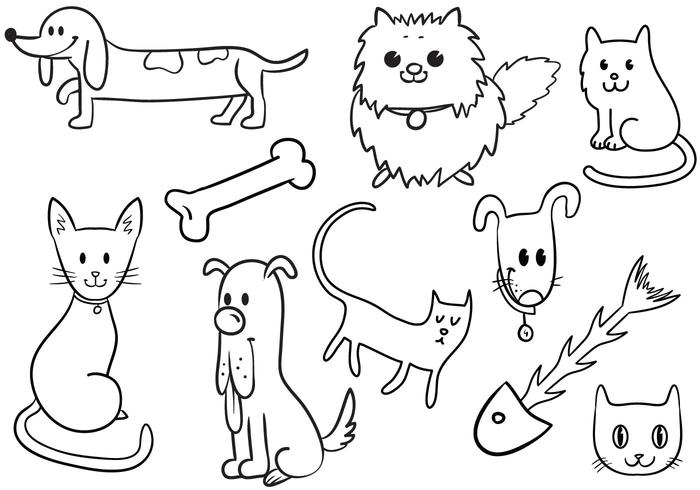 Nette Katze und Hund Vektoren
