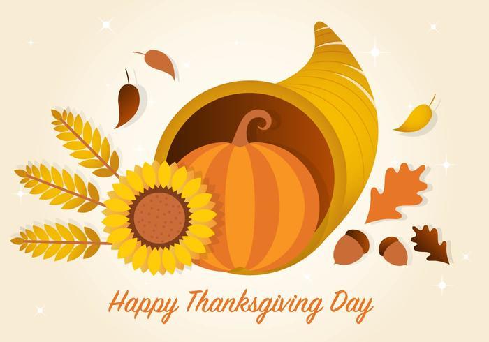 Thanksgiving Cornucopia Vector Achtergrond