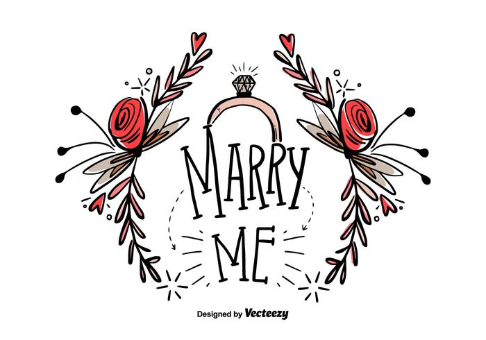 Livre Marry Me Hand Draw Vector