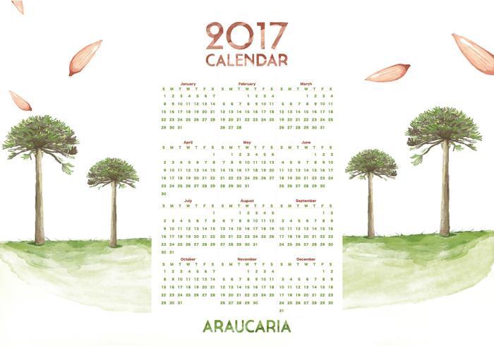 Araucaria Calendar 2017 Watercolor Vector