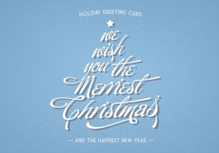 Christmas Lettering Holiday Greeting Card Vector