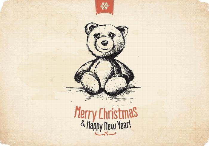 Aged Teddy Bear Christmas Vector