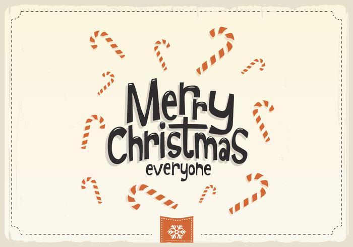 Merry Christmas Everyone Candy Cane Vector