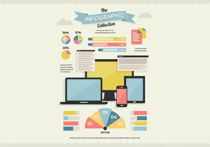 Vector de collection d'infographies de Tech & Documents