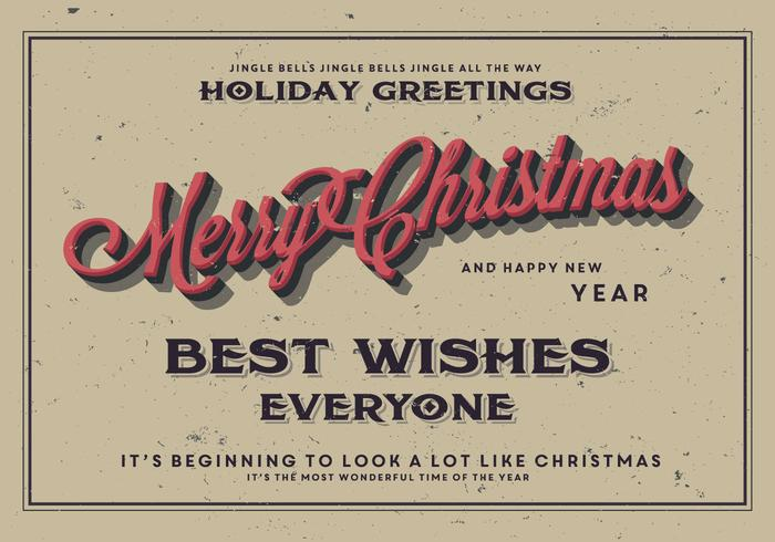 Classic Merry Christmas Postcard Vector