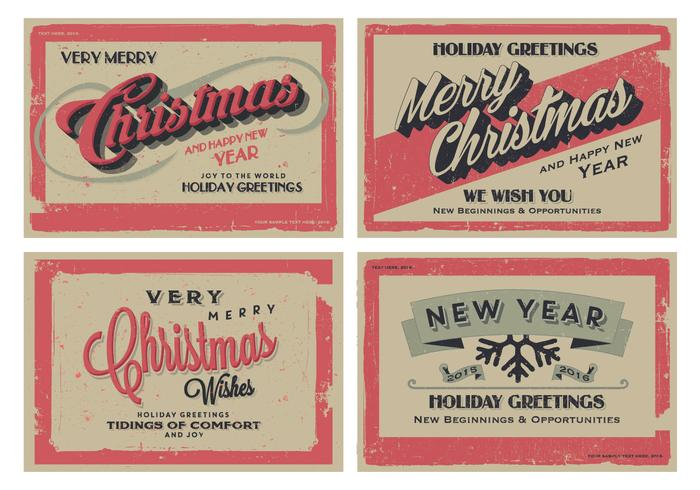 Vintage Holiday Greeting Cards Vector