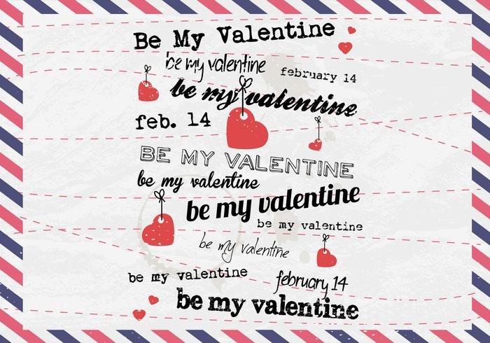 Be My Valentine Classic Postcard Vector