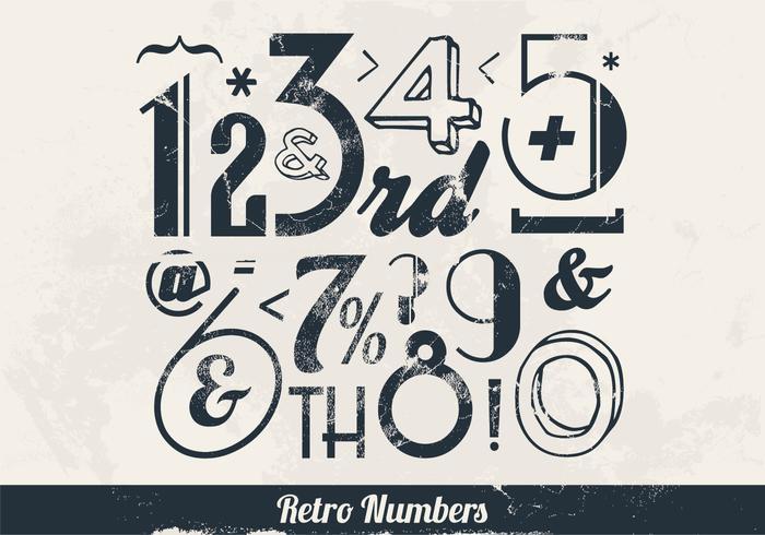 Throwback Numbers and Signs Vector