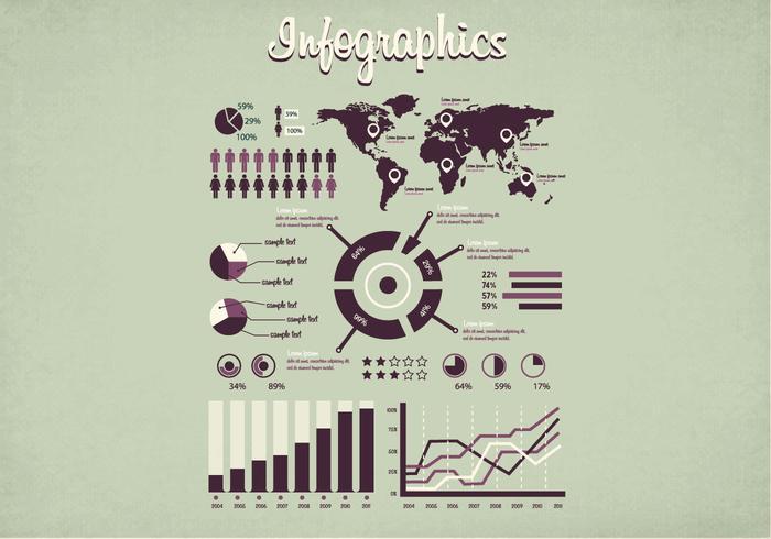 1950-talet Infographics Vector