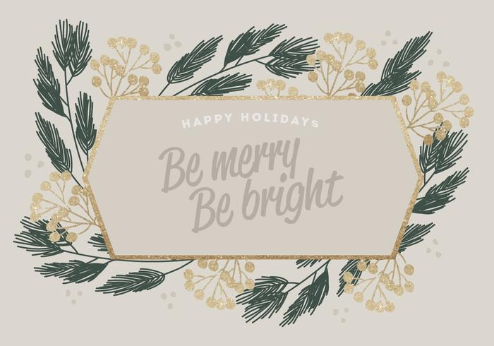 Gold Glitter Vector Winter Cards