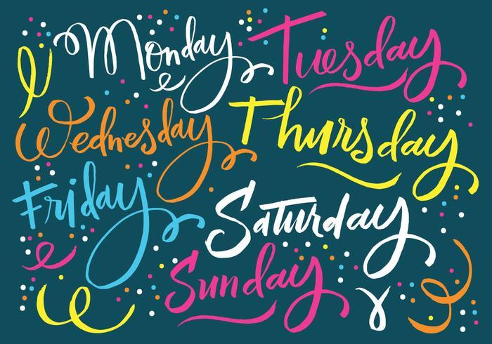 Tage der Woche Beschriftung