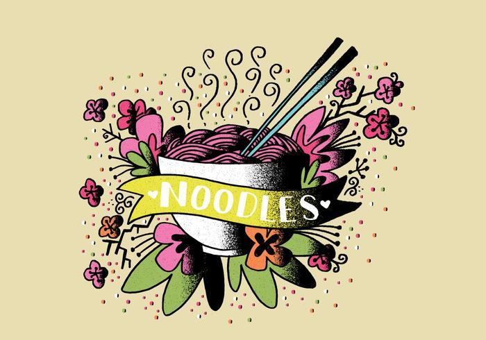 Arte del tatuaje de la comida de los tallarines