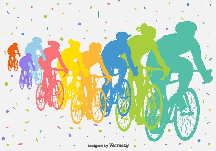 Bicycle Competition Vector Silhouettes