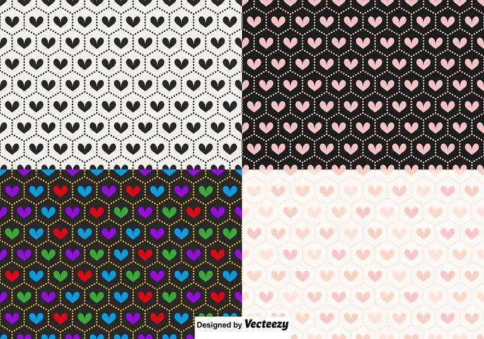 Vector Seamless Heart Patterns
