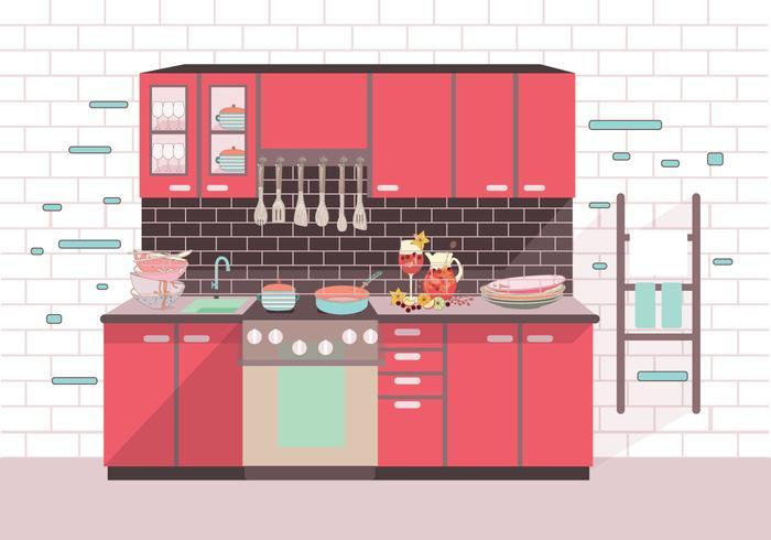 Modern Kitchen Cocina Vector