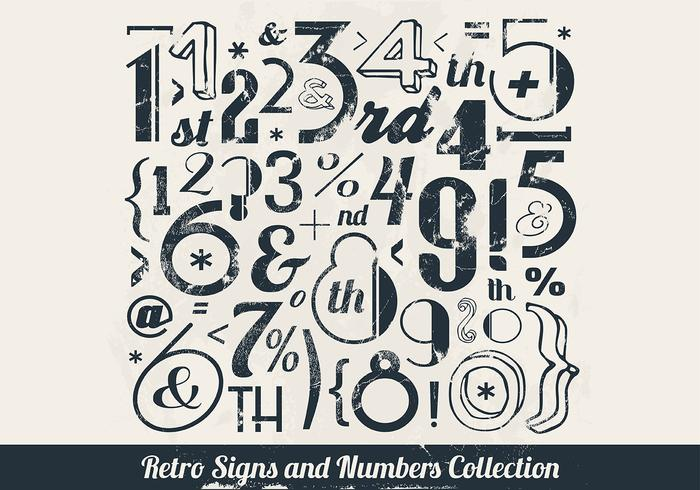 Gestempeld Numbers Collection Vector