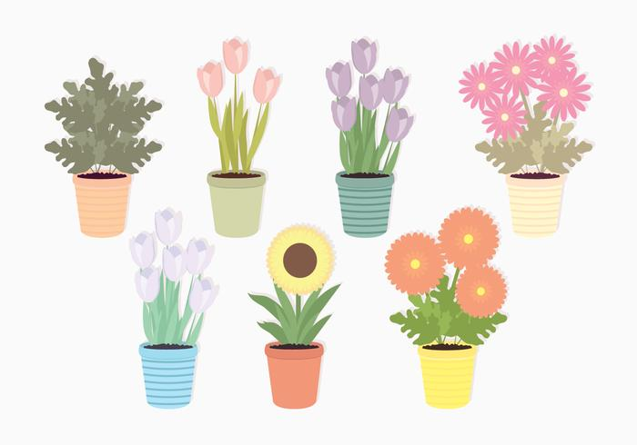 Vector Potted Flowers Set