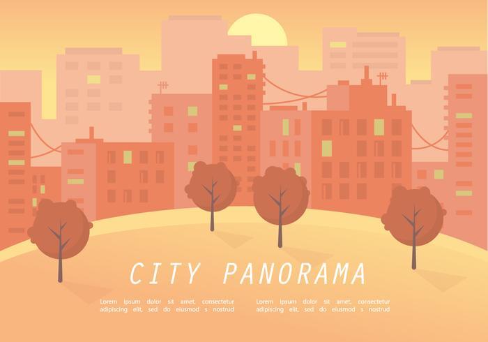 Warm Sunset City Panorama Vector Illustration