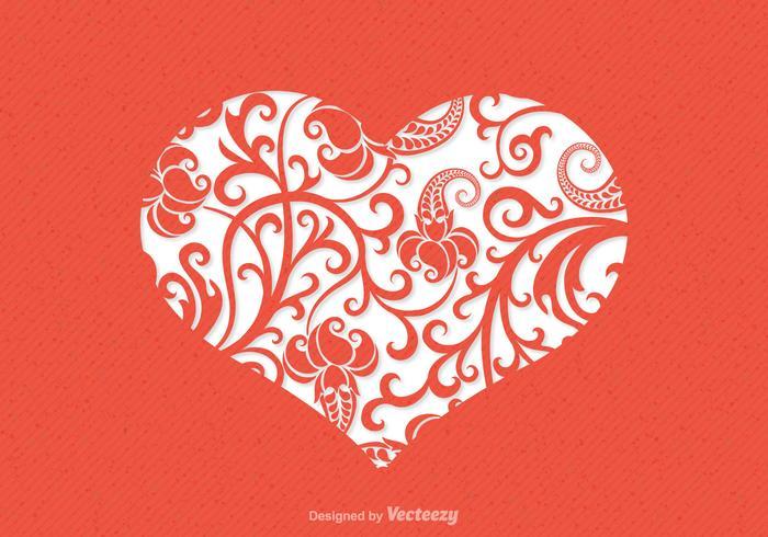 Cartão floral do vetor do coração