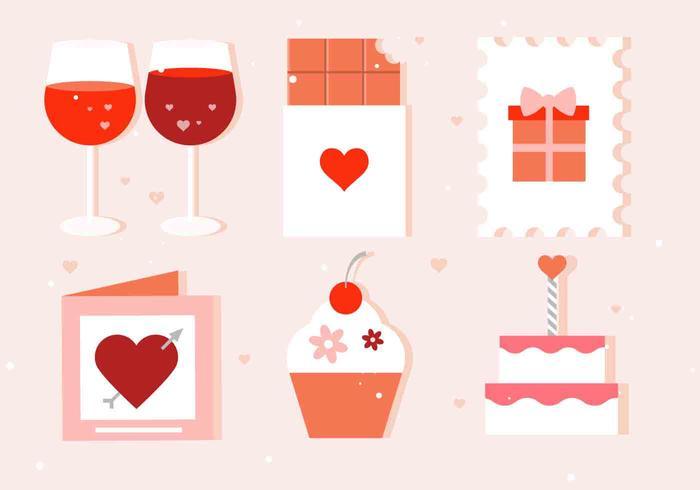 Vektor Valentinstag Elemente