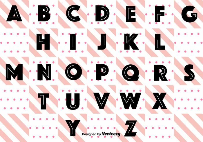 Schwarz Retro Alphabet Vektor