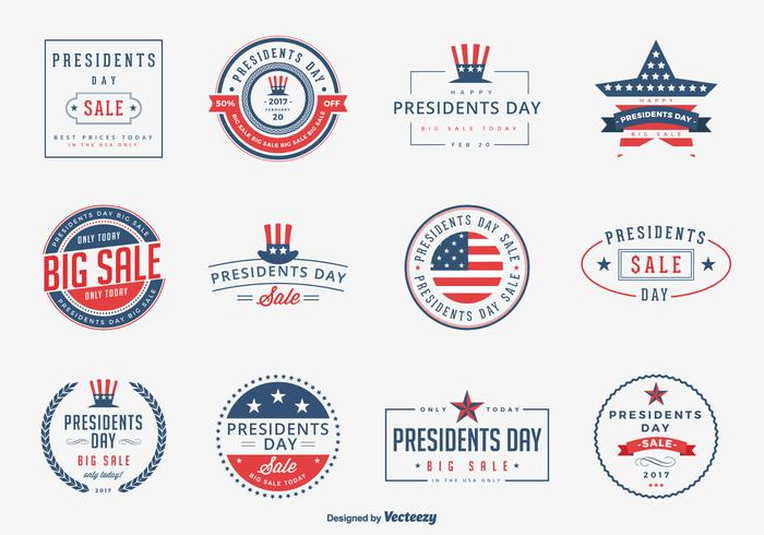 Presidents Day Sale Emblems Vector Set