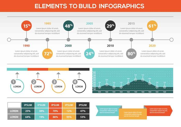 Retro Färgade vektor Infographic Elements