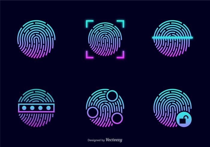 Glowing Theft Fingerprint Vector Icons