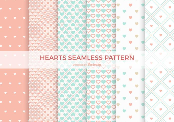 Pastel Heart Naadloze Vector Patterns
