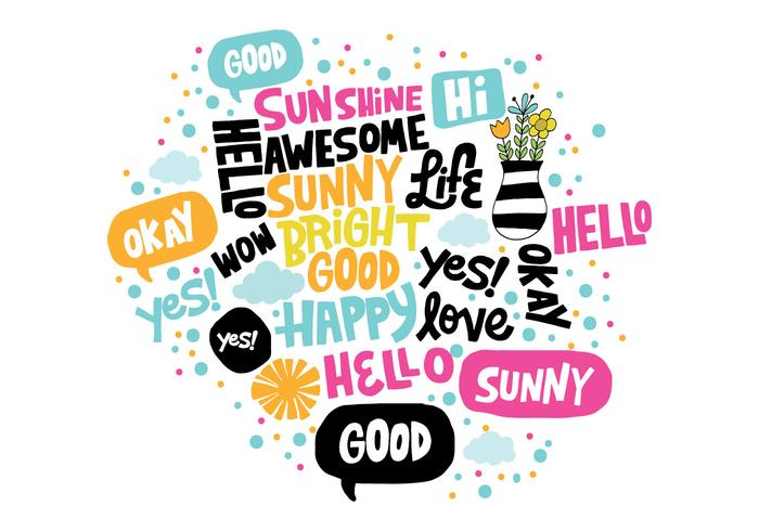 Hand Drawn Positive Words Vector
