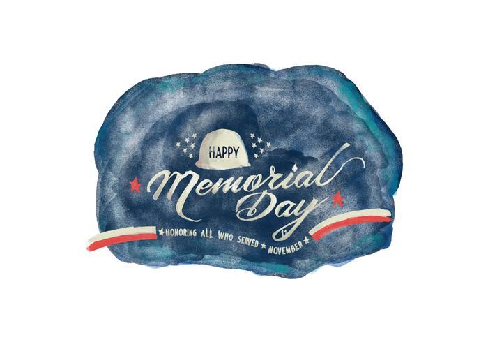 Memorial Day Watercolor Vector