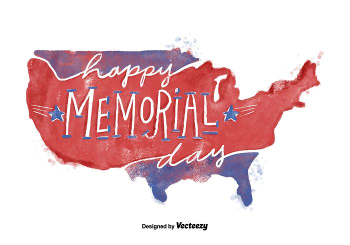 Red and Blue Memorial Day USA Watercolor Vector
