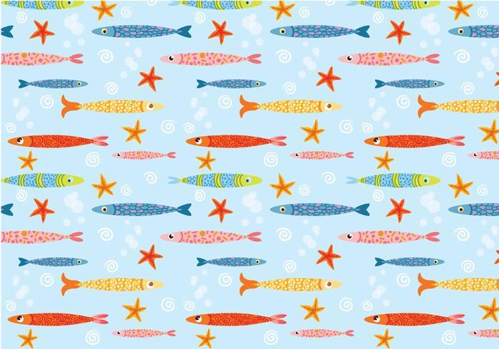 Funky Cute Fish Pattern Vector
