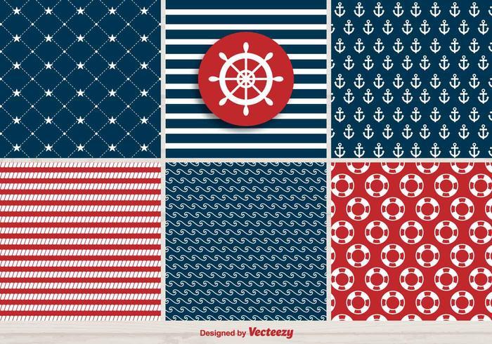 Vector Set Of Retro Navy Patterns