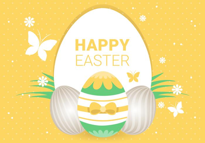 Yellow Easter Holiday Vector Background