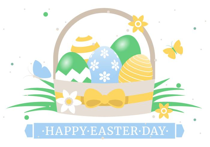 Spring Happy Easter Basket Vector Illustration