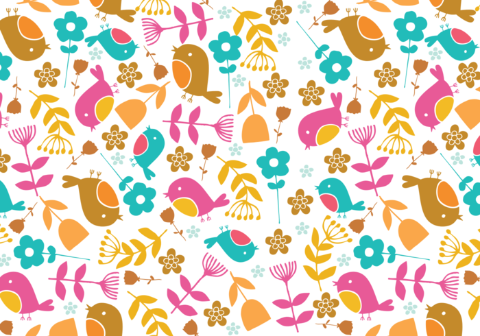 Retro Bird & Floral Illustrator Pattern