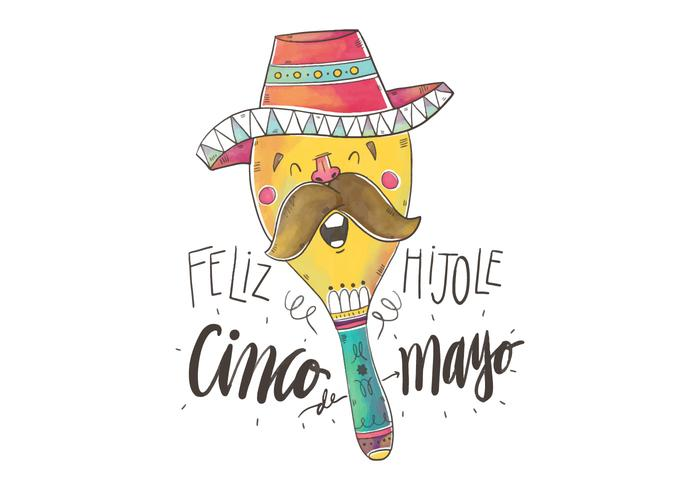 Cute Colorful Maraca Singing for Cinco De Mayo