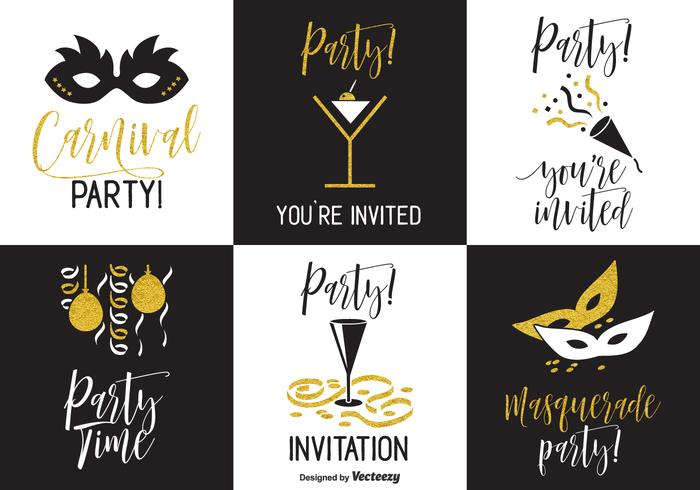 Black And Gold Party Invitation Vector Cards