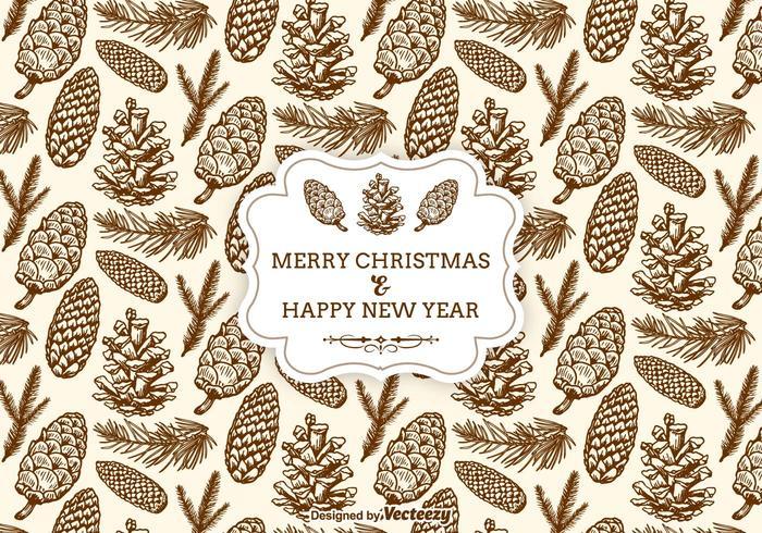 Hand Drawn Christmas Pine Cones Seamless Pattern